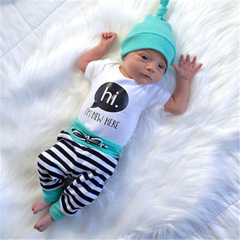 3PCS Newborn Baby Boys Girls T SHIRT Rompers Striped Pants ...