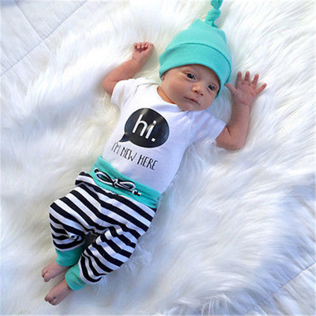 42ad87ca31256 US $5.61 14% OFF|3PCS Newborn Baby Boys Girls T SHIRT Rompers Striped Pants  Hats Outfits Set Clothes AUSTRALIA-in Clothing Sets from Mother & Kids on  ...