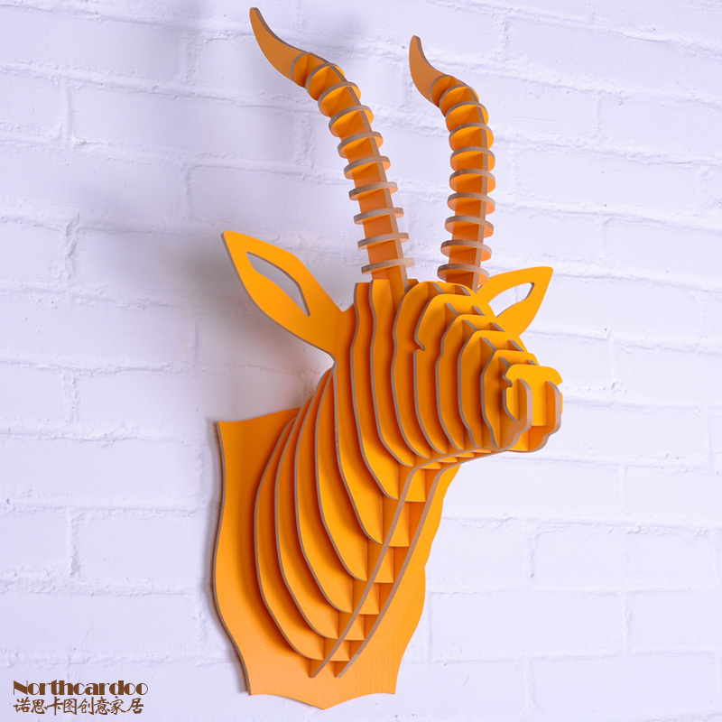Goat Head Wall Decorationwood Carving Goat Interior Decorwall