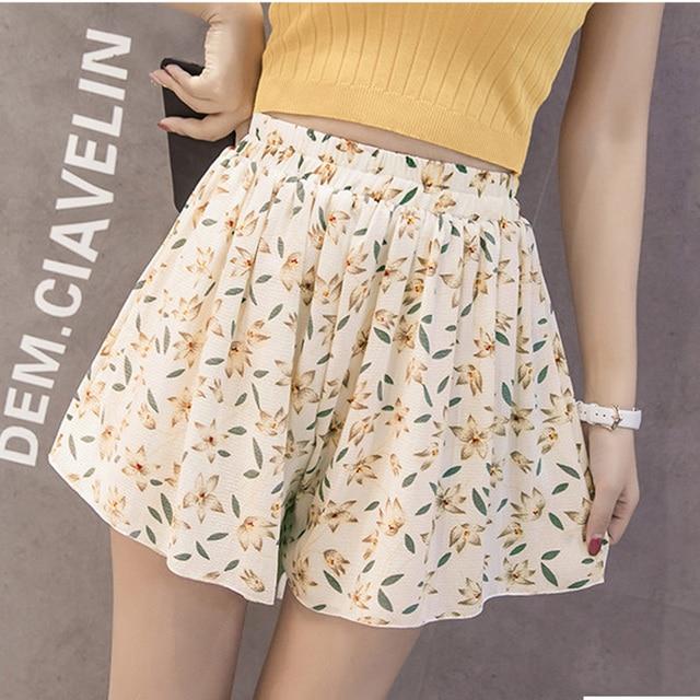 HUTOBI Summer Casual Wide Leg Shorts Loose Elastic Waist Chiffon Double Print Women Streetwear High Waist Short Plus Size