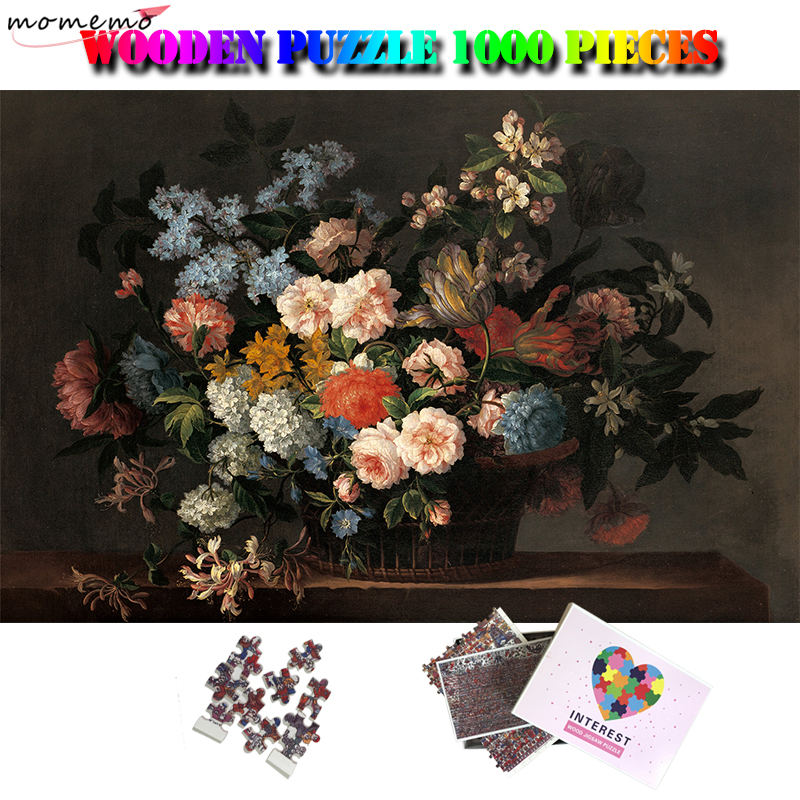 MOMEMO Still Life With Basket Of Flowers Jigsaw Puzzle Adult 1000 Pieces Wooden Puzzles Kids Oil Painting Artistic Insight Toys