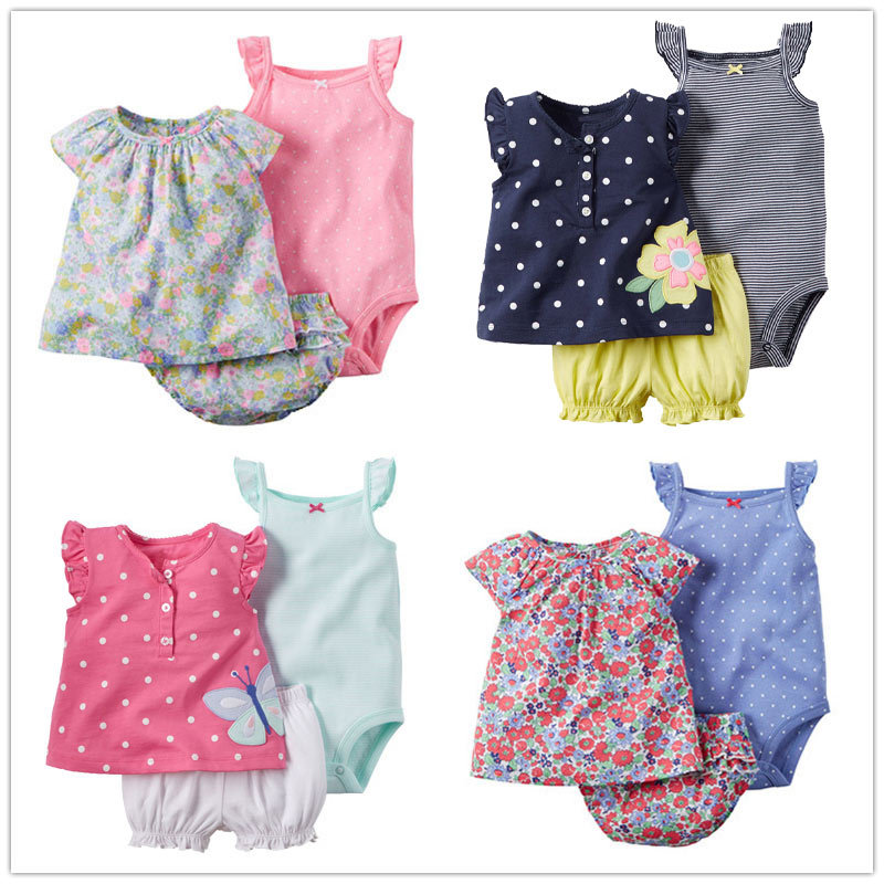 3 pcs Baby Girl Clothes Newborn Fashion Toddler Infant Cotton Summer Romper+Top+Shorts Tree sets Outfit 3M-24M Children Clothing