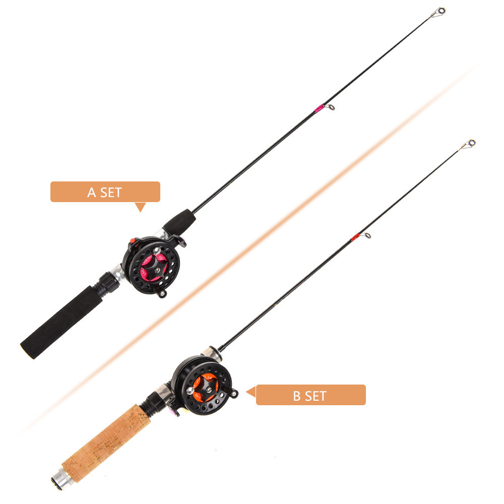 Hot Sale Winter Super short retractable Fishing SET Combo Lightweight Ice Fishing Telescopic Mini ice Fishing reel set Wholesale(China)