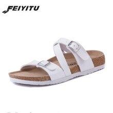 FeiYiTu Men Cork Slippers Sandals Summer Boys Patchwork Beach Slides Double Buckle Flip Flops Shoe brown black white red blue