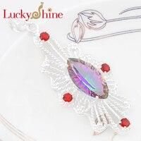 Luckyshine Shiny Fire Horse Eyes Fire Morganite Silver Plated Wedding Pendants Russia USA Australia Pendants For