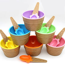 Fashion Cute Kids Candy Color Ice Cream Bowl Spoon Set Ice Cream Cup Dessert Container Holder With Spoon(China)