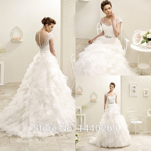 2016 A Line Sheer Tulle Scoop Neck Cap Sleeves Layered Wedding Dress ...