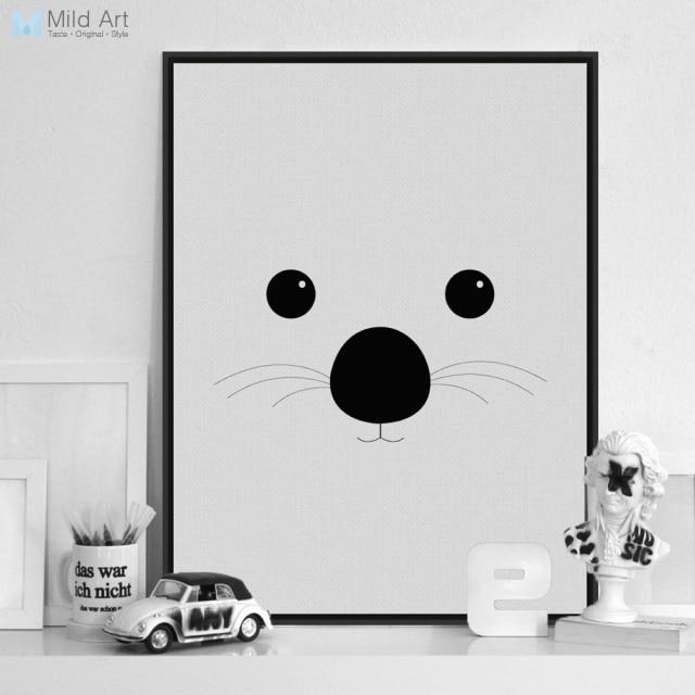 Modern Black White Minimalist Bear Animal Face A4 Art Print Poster