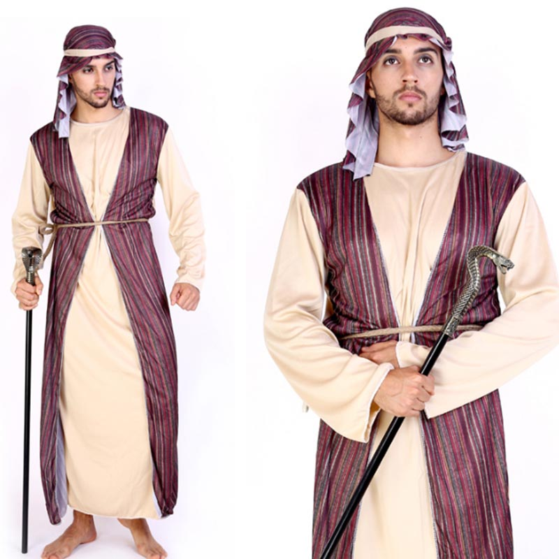 2018 Men Boy Noble Arab King Prince Cosplay Costume Adult Kids Family Costumes Robe HalloweenDress Party Decoration Purim