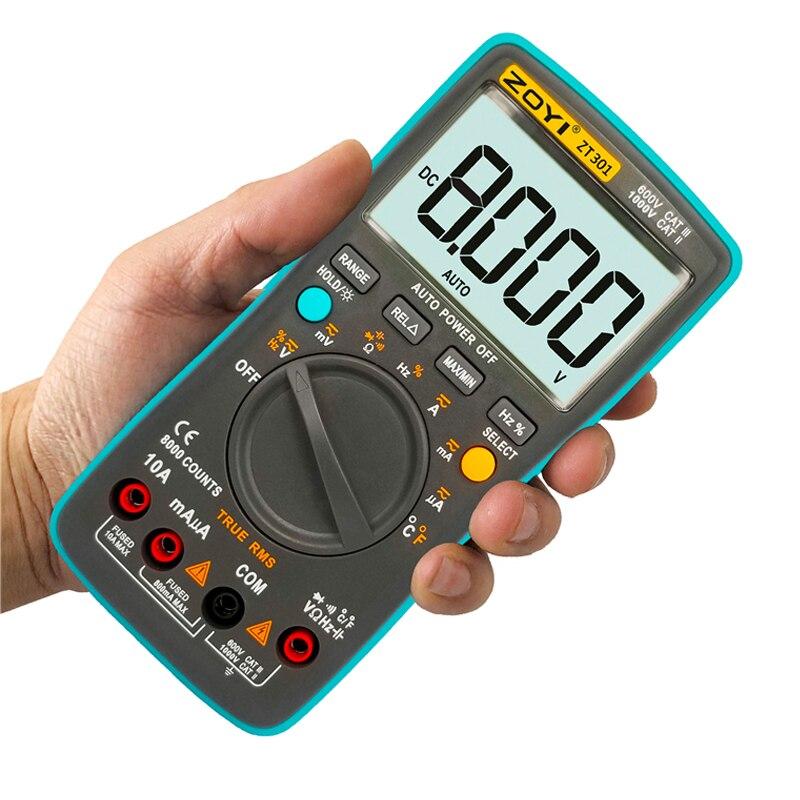 ZT301 ZT302 ZT303 Digital Multimeter 8000 counts True RMS Back light AC DC Voltage Ammeter Current