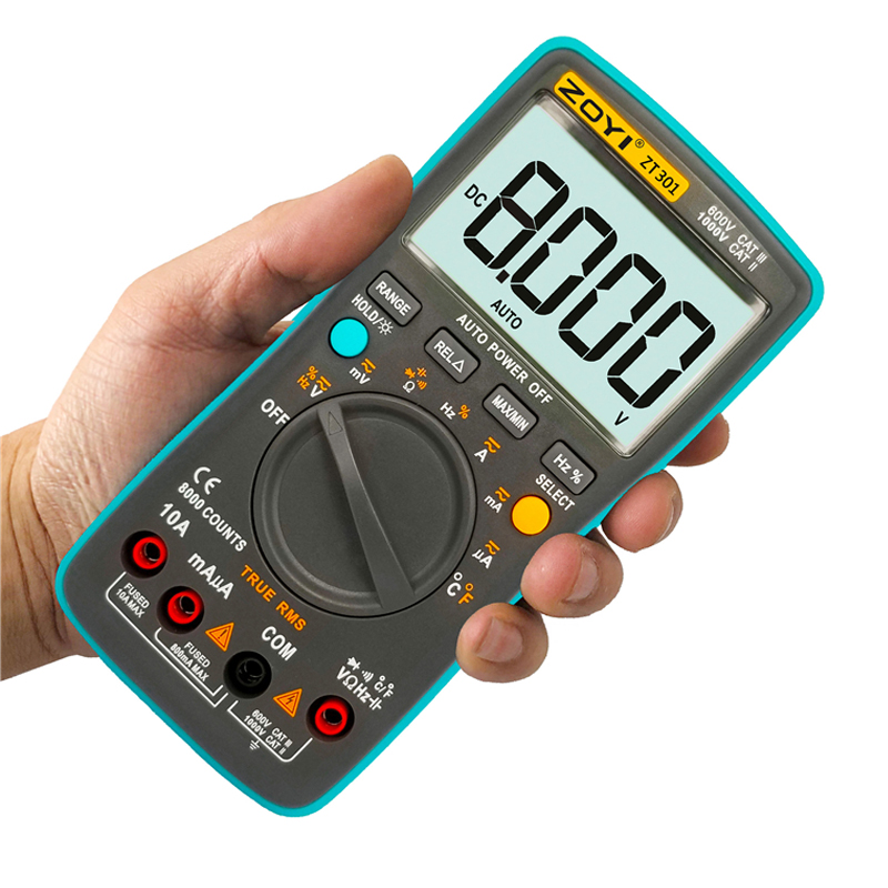 ZT301 ZT302 <font><b>ZT303</b></font> Digital Multimeter 8000 counts True-RMS Back light AC DC Voltage Ammeter Current Ohm Auto/Manual image