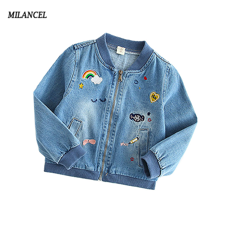 2018 Girls Denim Jacket Heart Printed Jeans Jacket for Girls 2-7T Childrens Clothing Autumn Outerwear windbreakers for girls ...