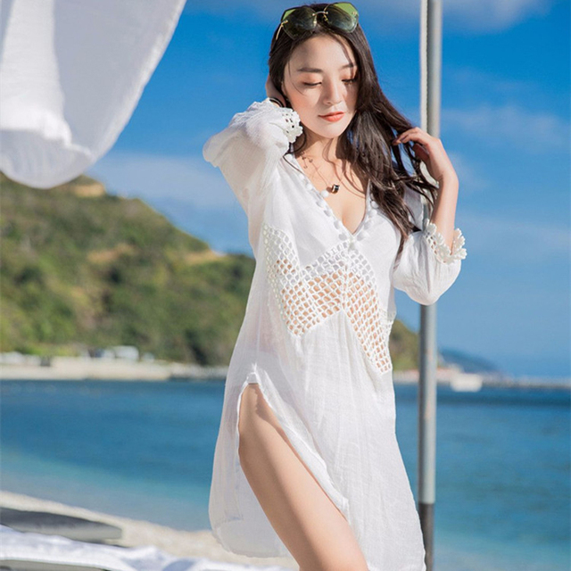 6dd67960fa Beach Swimwear Women Dress Cover Up Wear Women's Plus Size Outings Tunics  Womens Bather 2018 New Lace Swimsuit Shawl Solid