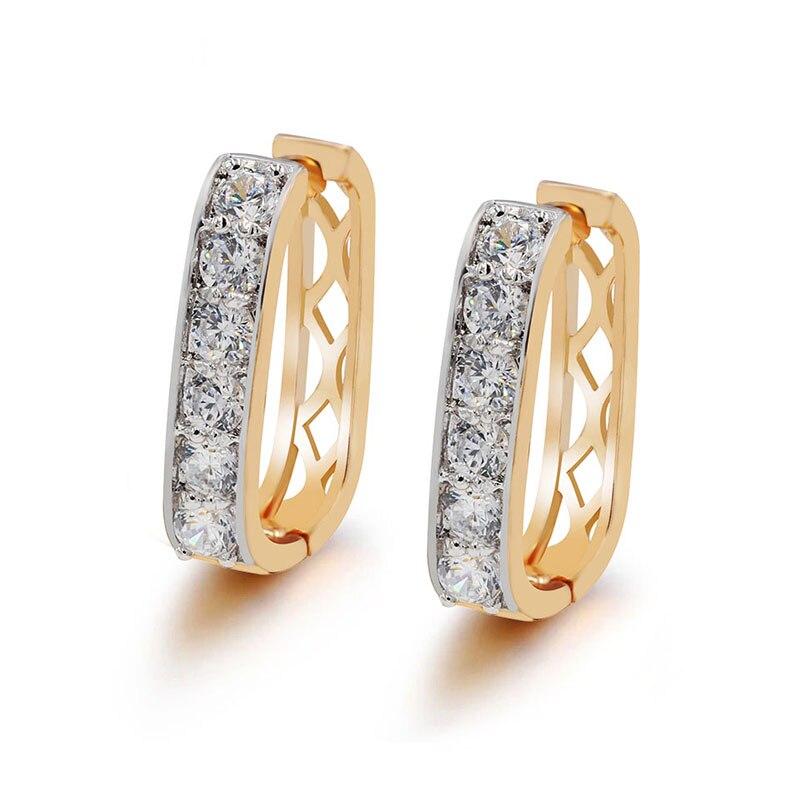 MxGxFam(Заводская распродажа) квадратные серьги-кольца для женщин смешанный золотой цвет Высокое качество AAA+ CZ - Окраска металла: mix gold color