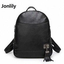 Jonlily Черные женщины рюкзак 2017 pu кожа сумка Колледж Ветер кисточкой школьные сумки для подростков Девочек Bagpack-SLI163