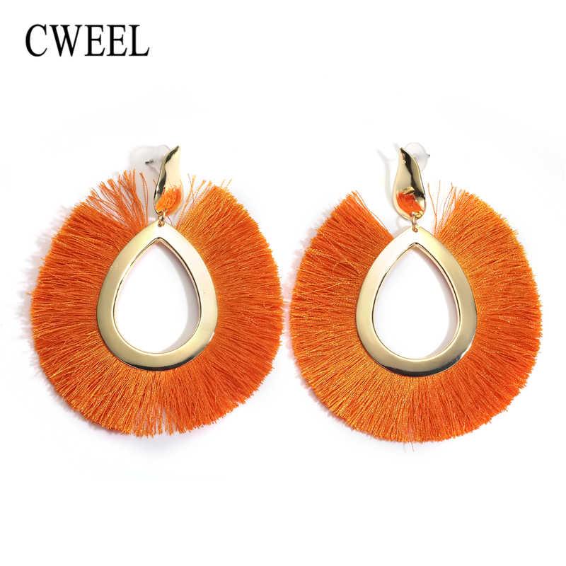 CWEEL Quaste Ohrringe für Frauen Big Fringe Ohrringe Modeschmuck Urlaub Weibliche Sommer Stil Böhmischen Hängenden Tropfen Ohrringe