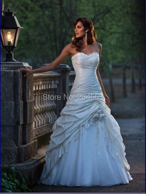 Classic Taffeta A Line In Stock Wedding Dress With Flowers Sweetheart Garden Bridal Gown Floor Length
