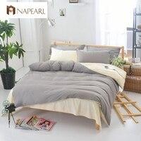 Capa de edredão conjunto colcha folha plana conjuntos de cama folha de cama de design nórdico moderno cor Sólida cinza verde