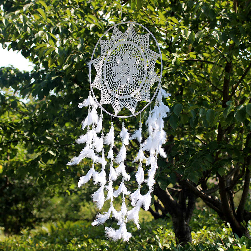 2018 New Lace Openwork Wind Chime Ornaments Creative Dream Catcher Home Decoration Bedroom Living Room Wall Hanging Pendant