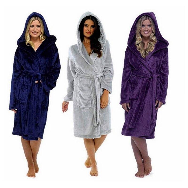 Plus Size S-5XL Thicken Nightgowns Winter Bathrobe Women Pajamas Bath Flannel Warm Robe Sleepwear Womens Robes Coral Velvet 2019