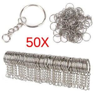 مصقول الفضة اللون 25 مللي متر كيرينغ حلقة المفاتيح سبليت مع سلسلة قصيرة حلقات المفاتيح النساء الرجال DIY سلسلة مفاتيح اكسسوارات 50 قطعة