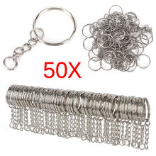 Polished Silver Color 25mm Keyring Keychain Split Ring with Short Chain Key Rings Women Men DIY Key Chains Accessories 50pcs(China)