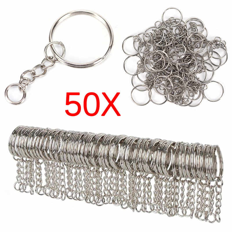 Polished Silver Color 25mm Keyring Keychain Split Ring with Short Chain Key Rings Women Men DIY Key Chains Accessories 50pcs