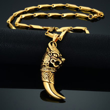 Dropshipping Stainless Steel Dragon Head Pendant Necklace Wolf Tooth Amulets And Talismans Cool Necklace For Women And Men