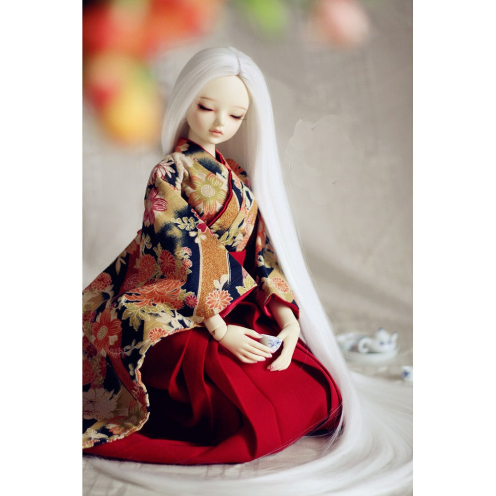 [wamami]White Straight Long Wig Long 60-70cm for 1/3 SD DZ DOD BJD Dollfie 7-8 fashion white straight fur wig 1 3 1 4 bjd wigs long wig for diy dollfie