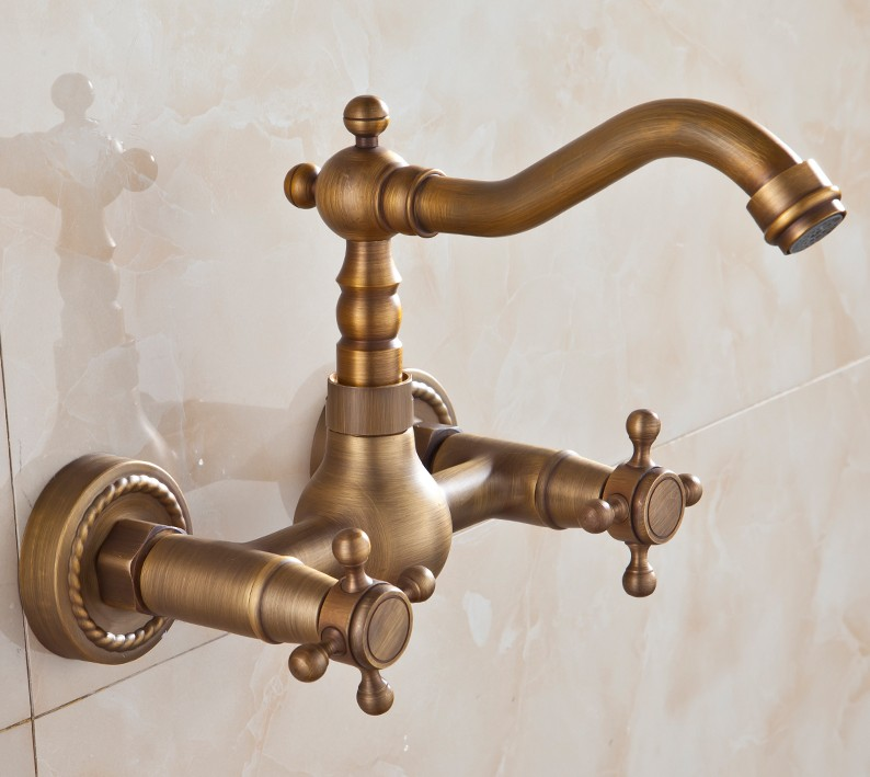 ФОТО 180 Degree Rotating Faucets Antique Brass Bathroom TapS Bath Mixer /Fashion vintage Dual Handle hot and cold wash basin Faucets