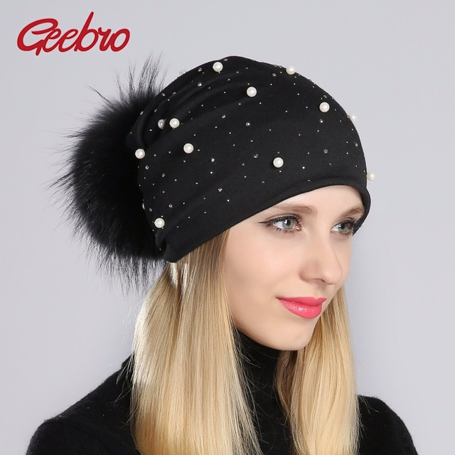 Geebro Brand Women s Pom Pom Pearl Beanie Hat Spring Casual Polyester Shine  Rhinestones Beanies For Women Skull Hats Bonnet Cap 36b895c6895