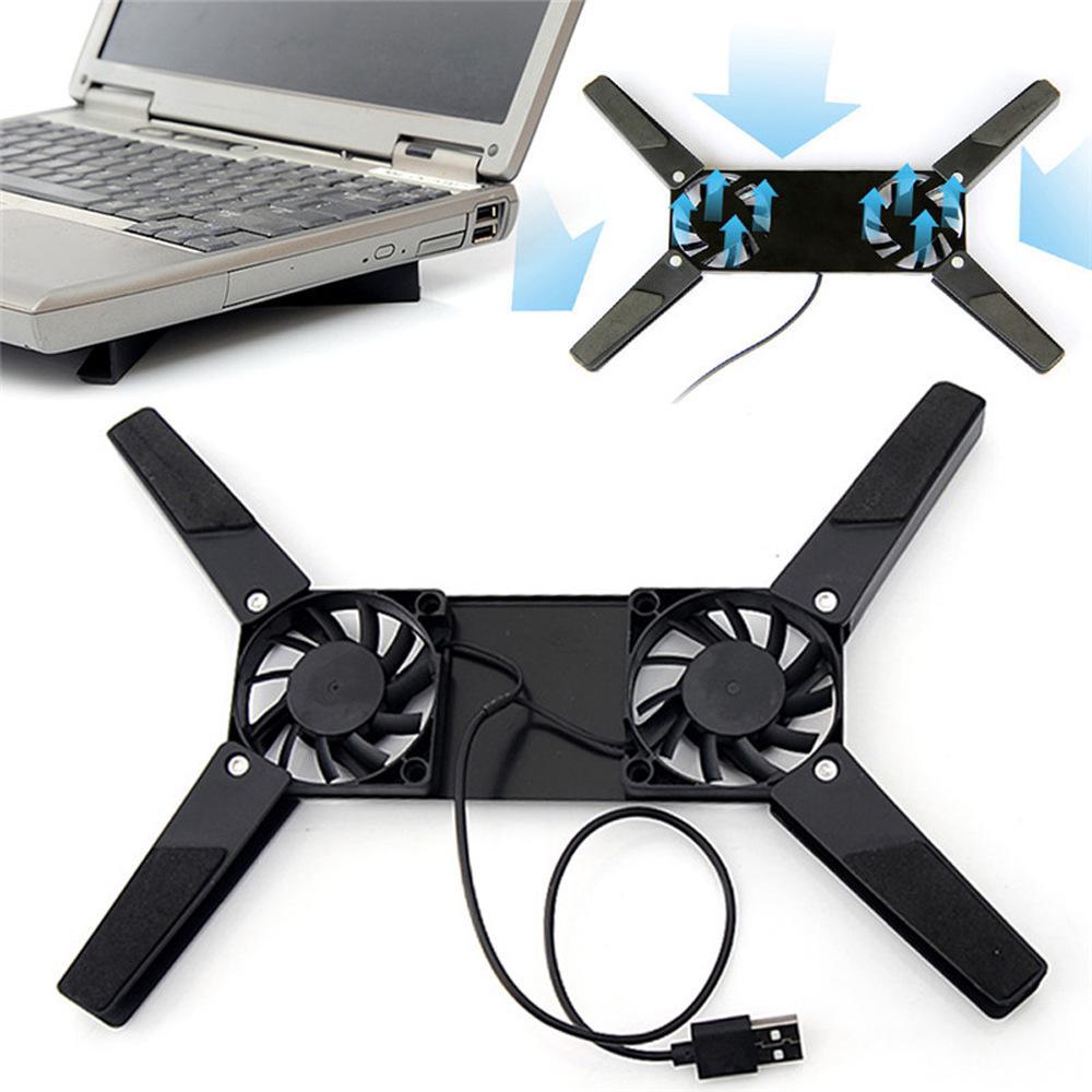Laptop Desk Support Dual Cooling Fan Notebook Computer Stand Foldable USB Rack Holder Black New
