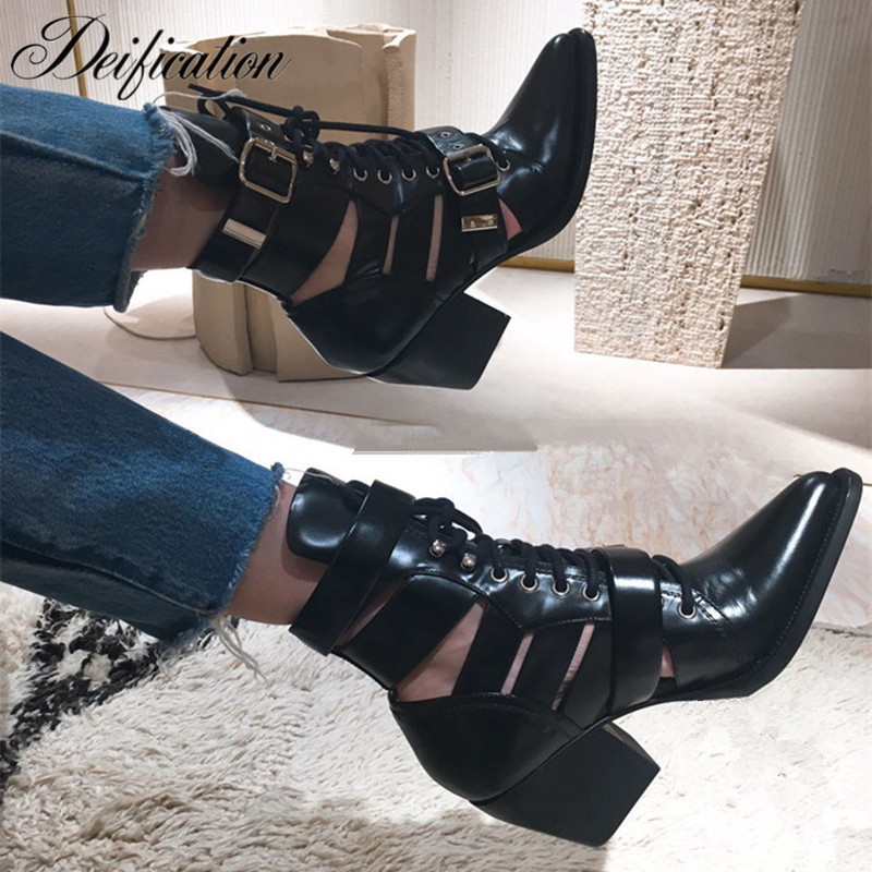 Deification Factory Chunky Heels Ladies Boots Cow Leather Catwalk Ankle Boots Fashion Lace Up Buckle Straps Susanna Shoes Botas