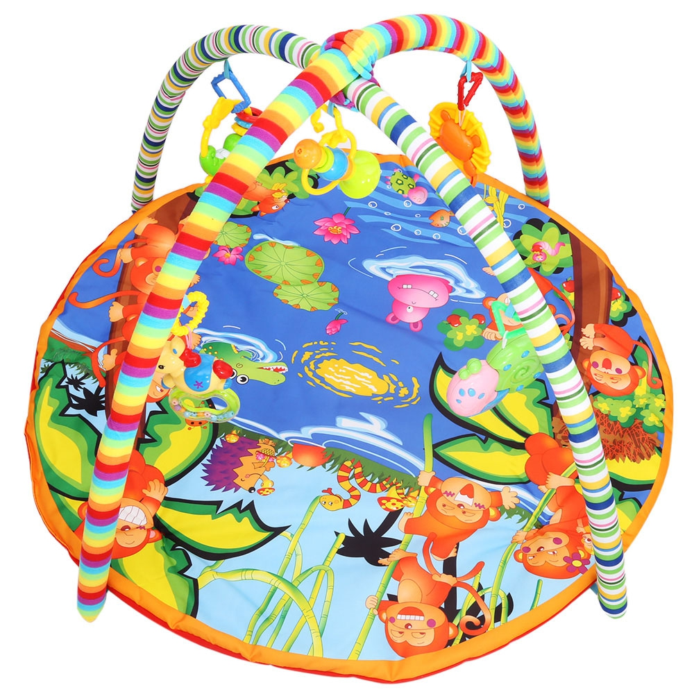 2016 New Baby Soft Play Mat Cartoon Animal Gym Blanket with Frame Rattle Crawling Developmental Toy With Smooth Hand Feeling