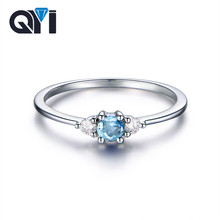 QYI Natural Sky Blue Topaz Ring 0.8 Ct Round Cut Gemstone Jewelry Women 925 Sterling Silver Three Stone Engagement Wedding Ring
