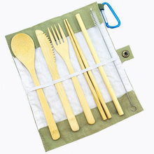 Portable Eco Friendly Flatware Set 7PCS Bamboo Cutlery  Knife Fork Spoon Reusable Straws Chopsticks Travel Utensils