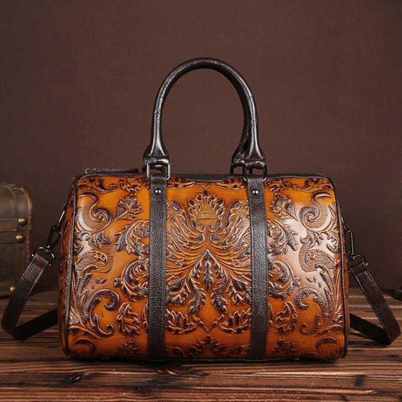 Chinese Style Genuine Leather Women Shoulder Bag Luxury Handbag Women Bags Designer High Quality Embossed Ladies Messenger Bag все цены