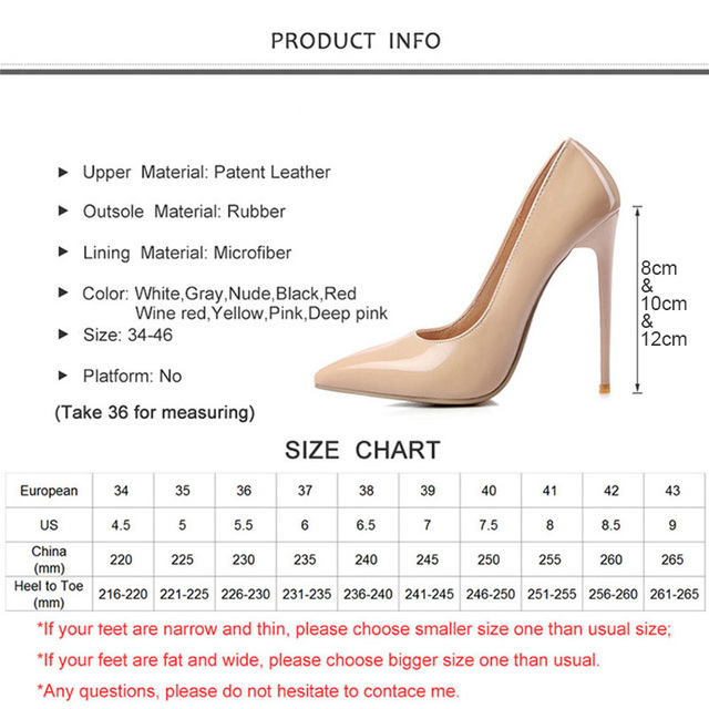 12cm High thin Heels Women Pumps Pointed Toe Shallow Bridal Wedding Shoes Sexy Ladies Women Shoes Nude High Heels Big Size 34-46 5
