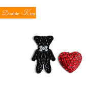Small Bear Love Heart Stud Earrings Titanium Stainless Steel Inlaid Zircon Gold Color Fashion Trendy Women Jewelry Gift