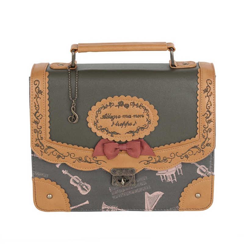 Estilo japonês nota musical bordado mochila do vintage lolita 3 maneiras bolsa de ombro bonito sacos de escola para adolescentes meninas mochila