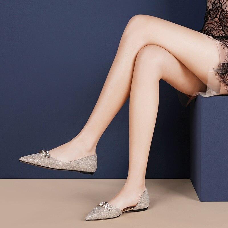 Cristal Casual Slip Peu Dames Femmes Confortable Profonde Concis Printemps Nouveau golden 2019 L'extérieur Pointu Appartements Zvq Silver À Chaussures Bout sur TSFqwY