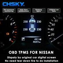 CHSKY TPMS OBD Para Nissan new X-trail Qashqai Tiida Teana OBD monitoramento do sistema de monitoramento de pressão dos pneus sensor de segurança alarme