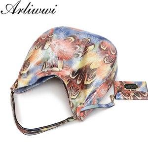Image 4 - Arliwwi Brand Elegant Shiny Women Handbags Hobos Rainbow Shoulder Bags Female Big Tote Colorful Feature Cross body Bag PY02