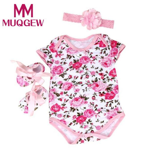 b77f7f499ac03 MUQGEW 2018 lace dress girl summer tutu Baby Girl 3pcs Floral Romper  Bodysuit headband Shoes Sets Clothes vestidos de novia