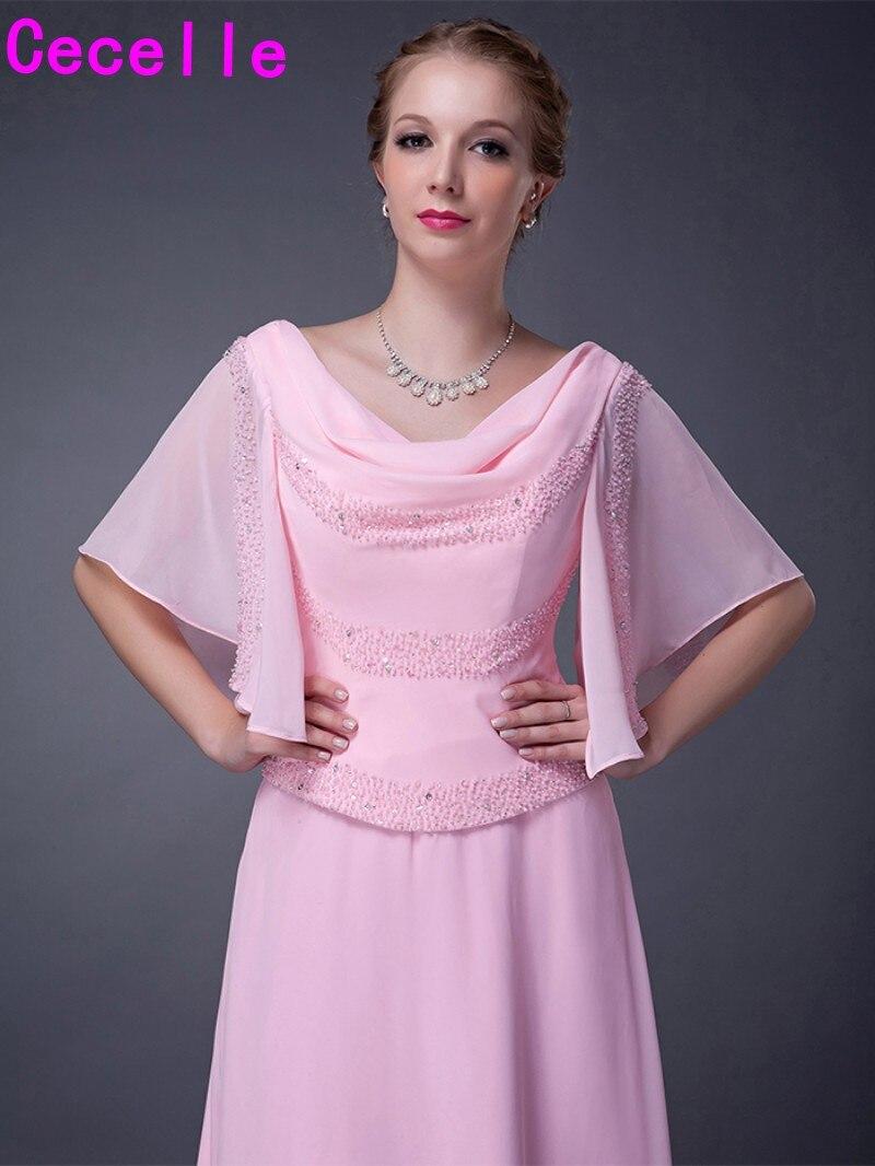 Tamaño más largo piso de longitud de gasa Rosa elegante Vestidos ...