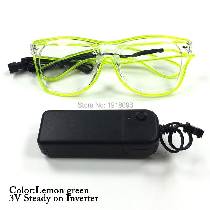 Luminous EL Wire Glasses Color Lemon green Fashion Hot Sale 3V Steady on EL Driver Rave Costume Party DJ SunGlasses