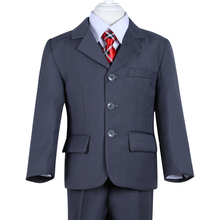 new fashion high quality three pcs solid grey formal boys wedding suit