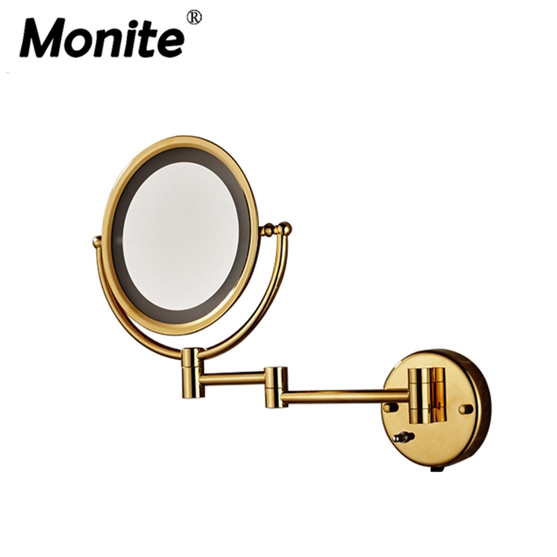 Bathroom Mirrors Luxury Golden Bath Mirrors Stainless Steel Makeup Cosmetic Mirrors Wall Mounted Mirrors orthodontic dental clinic stainless steel photography mirrors