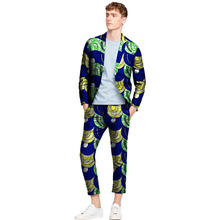 Tailor made african blazers and trousers men fashion africa print dashiki suits business edition slim fit blazer+pant set