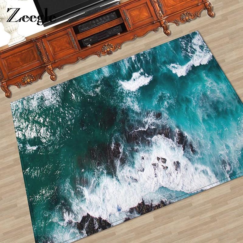 Zeegle Wave Pattern Carpet For Living Room Kids Bedroom Decor Rug Floor Mat Beside Carpet Coffee Table Mat Machine Washable Rugs